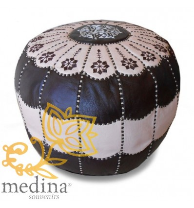 Chocolate and cream leather pouffe Moroccan arch design_ Pouf Leather Ottoman Poof pouffes hassock Footstool