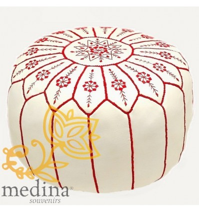 Moroccan White and gold leather pouffe Moroccan design_ Pouf Leather Ottoman Poof hassock Footstool Beanbag leather pillow