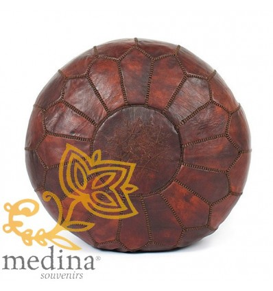 Chocolate leather pouf Moroccan design_ Handmade genuine leather pouf
